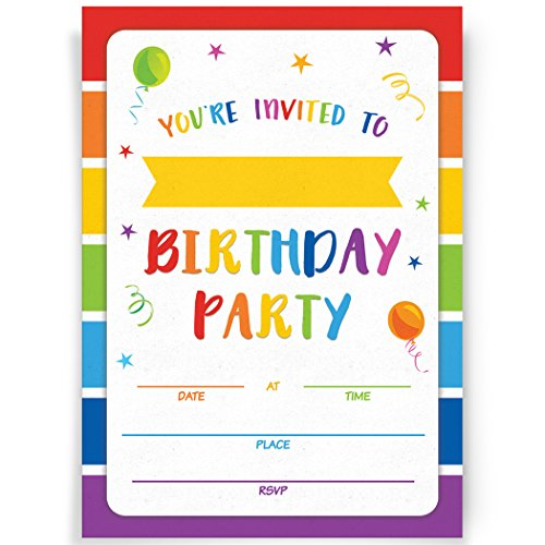 Birthday Party Invitations, 20 Invitations and Envelopes, Rainbow Party Invites, Ideas, and Supplies