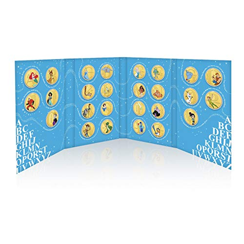 IMPACTO COLECCIONABLES Disney A-Z Colección Completa - 26 Monedas / Medallas bañadas en Oro 24 Quilates y coloreadas a 4 Colores - 28mm