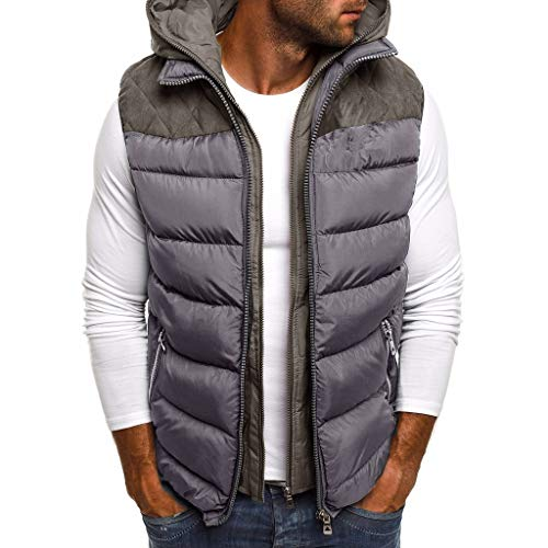 Daunenweste Herren, Leicht Ärmellos Steppweste Mit Kapuze Bodywarmer Outdoor Weste Sweatwesten übergangsweste Winter Vest Hoodies Steppjacke Winterjacke