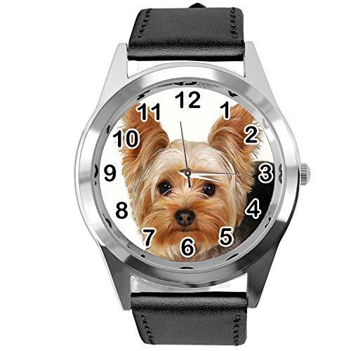 Reloj analógico de Cuarzo con Correa de Piel auténtica, Redondo, Color Negro, para los Fans de York Terrier