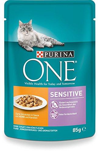 Purina One Sensitive Kattenvoer, Gehydrateerd, Rijk aan Vitaminen en Mineralen, Verpakt per 24 Stuks (24 x 85 g)