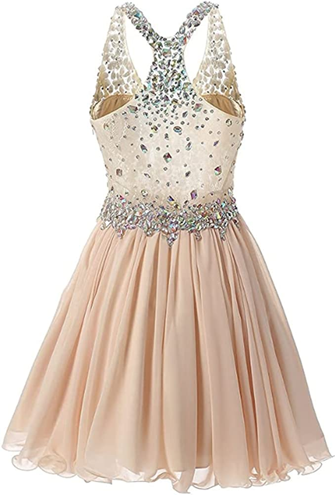 Snow Lotus Women's Spaghetti Strap Beaded Homecoming Dresses Short Chiffon Prom Gown Cocktail Dress