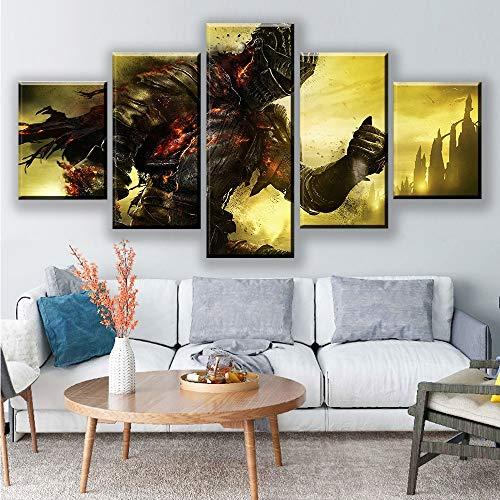 Dekoration Wandkunst Spiel Bilder Für Wohnzimmer Hd Gedruckt 5 Stücke Dark Souls Leinwand Malerei Rahmen Charaktere Poster(NO Frame size 3)