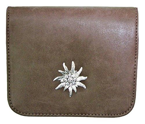 Trachtentasche mit Edelweiß Applikation Braun