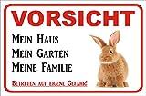 AdriLeo Schild Vorsicht Kaninchen/Hase - Mein Haus 15x20 oder 20x30cm (15x20cm) thumbnail