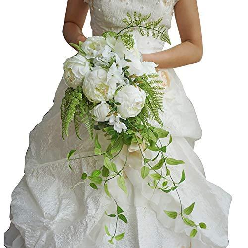 Minions Boutique Bouquet De Mariée Mariage Artificielle Bouquet De Mariée Vintage Champagne Forme De Goutte Blanche Mariage Fleur