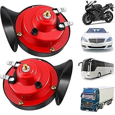 (2 Pack) 300db Train Horn for Trucks Double Horn, Electric Snail Horn, Car Horn Super Loud, 12V Air Horns for Motorcycle, Train, Boats