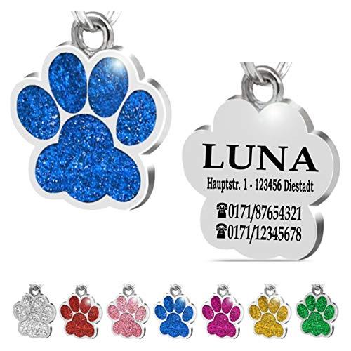 Iberiagifts - Hundemarke Pfote mit Gravur für kleine bis mittelgroße Hunde oder Katzen - Plakette graviert personalisiert (Blau)