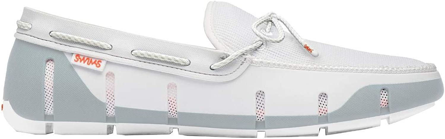Swims Stride Lace Loafers - White Alloy-UK 7