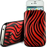 RED ZEBRA PREMIUM PU LEATHER PULL FLIP TAB CASE COVER POUCH