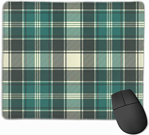 Whecom Gaming Mauspad Schwarz, Green Plaid Fabric Texture Seamless Pattern Funny Mouse Pad with Stitched Edge Mouse Mat Non-Slip Rubber Base Office Mousepad for Laptop, Computer & PC, Mouse Pads