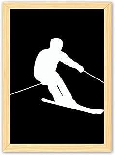 CaoGSH Cadre photo décoratif en bois pour sports d'hiver Noir A4