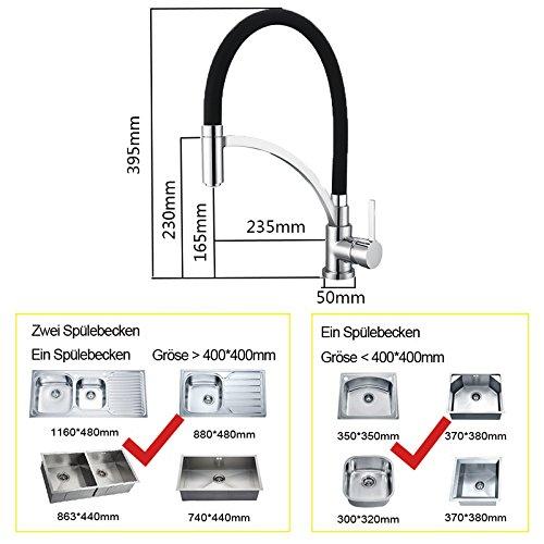 Homelody Schwarz Wasserhahn Küche Küchenarmatur Armatur Spüle Mischbatterie Einhebel Spültischarmatur Spiralfederarmatur - 3