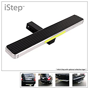 "APS iStep Universal 26"" Silver Aluminum Rear 2"" Class 3 Hitch Mounting Step Hitchstep Rear Roof Rack Bumper Guard Protector"