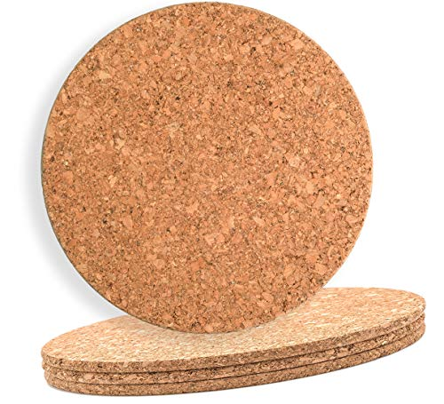 """Large Cork Mat 8 """" x 18"""" Round 6 Pack Hot Pot Stands placemat or planter bottom"""