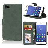 Zl One Matting PU Leather Protection 3 Card Slots Wallet Flip Case Cover for Lenovo ZUK Z2/Z2 Plus (Green)
