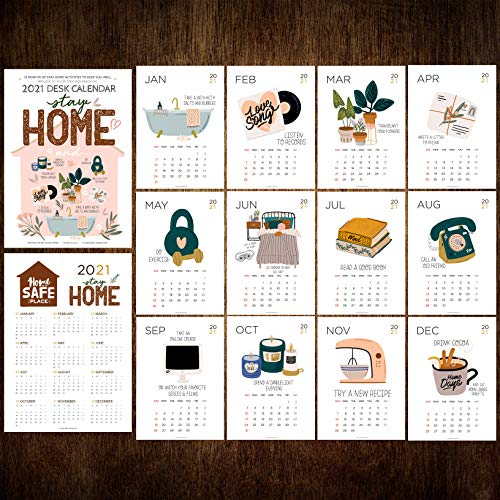 2021 Desk Calendar 5x7 with Wooden Display Easel Stand: Watercolor Art Animal Cat Dog Lover Home Office Décor (2021-Home, Refill Pages Only)