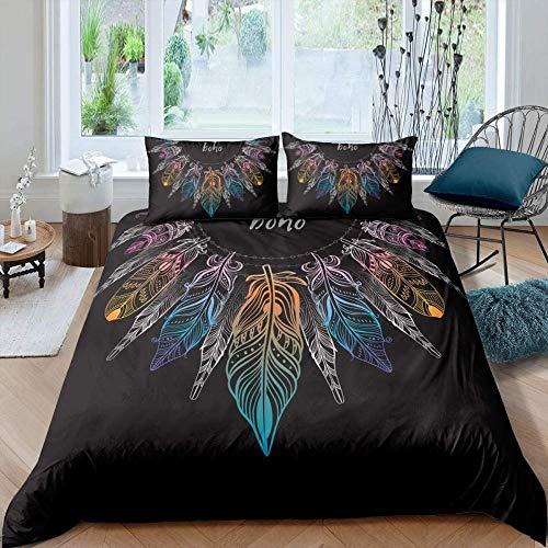 Touoahi Bedding Sets Double Bed Duvet Covers Modern Creative Fantasy Color Feather Pattern Black Single (135 X 200 Cm) Double Duvet Covers Set Bedding Set Quilt Cover Super Soft, Easy Care Hypoallerg