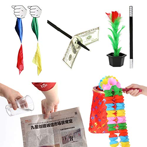フェリモア 特大ボリューム マジックセット 魔法の袋 ハンカチ 新聞紙 お札貫通ペン 魔法のステッキ