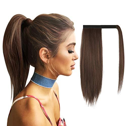 FESHFEN 40 cm Pferdeschwanz Extensions Glatt Lang Pferdeschwanz Verlängerung Haarteil Zopf Natürliches Clip in Ponytail Extension Synthetik Haare Extensions Haarverlängerung
