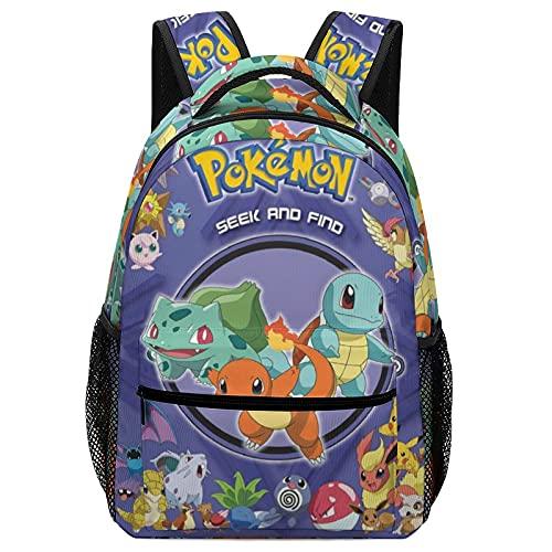 Poke-mon Mochila escolar para niños, mochilas para niños, niñas, estudiantes adolescentes, mochila escolar con bolsillo lateral, mochila con estampado de dibujos animados