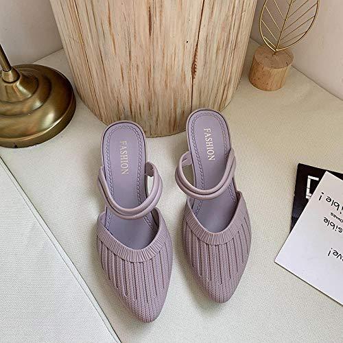 Chanclas Casual Mulas Sandalias Zapatos,Mujeres vestidas con Medias Pantuflas con Tacones de Pendiente-púrpura_40,Zapatos Elegantes de Cuero de Verano para niñas de PU