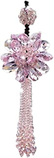 UZHOPM Crystal Flower Car Hanging Ornament Car Rear View Mirror Pendant Car Accessories (Pink)
