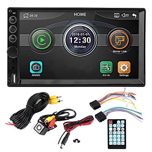 7'Doble Din Car Audio estéreo Bluetooth MP5 Reproductor USB FM Radio multimedia HD MP5-7062 Reproductor USB/TF 12 LED Visión nocturna Cámara de respaldo Control remoto