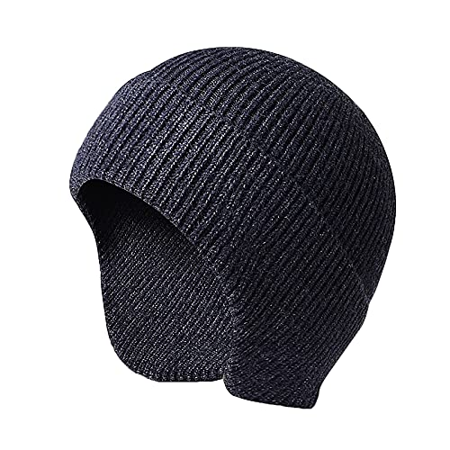 JAOAJ Hombres Beanie Watch Knit Winter Earflap Sombreros Bottom Beanie Ski Beanie Warm Skull Caps Gorro de Punto Invierno para Hombres
