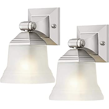 2 Lights Sunlite 46062-SU Bathroom Vanity Light Fixture 14 Bell Shaped Frosted Glass Brushed Nickel Finish