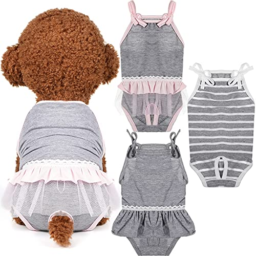 Frienda 3 Pieces Dog Diaper, Dog Sanitary with Adjustable Strap Suspender Pants, Jumpsuits Suspenders for Girl Dog Teddy Young Corgi French Bulldog Puppy (L)
