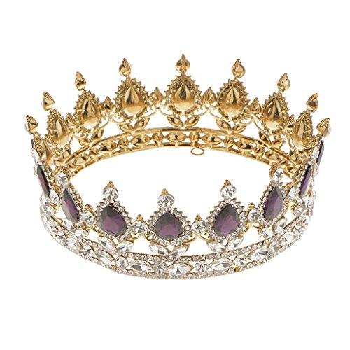 Generic Braut Krone, König Tiara, Hochzeit Diadem, Mit Strass Deko, Hochzeit Haarschmuck - Lila