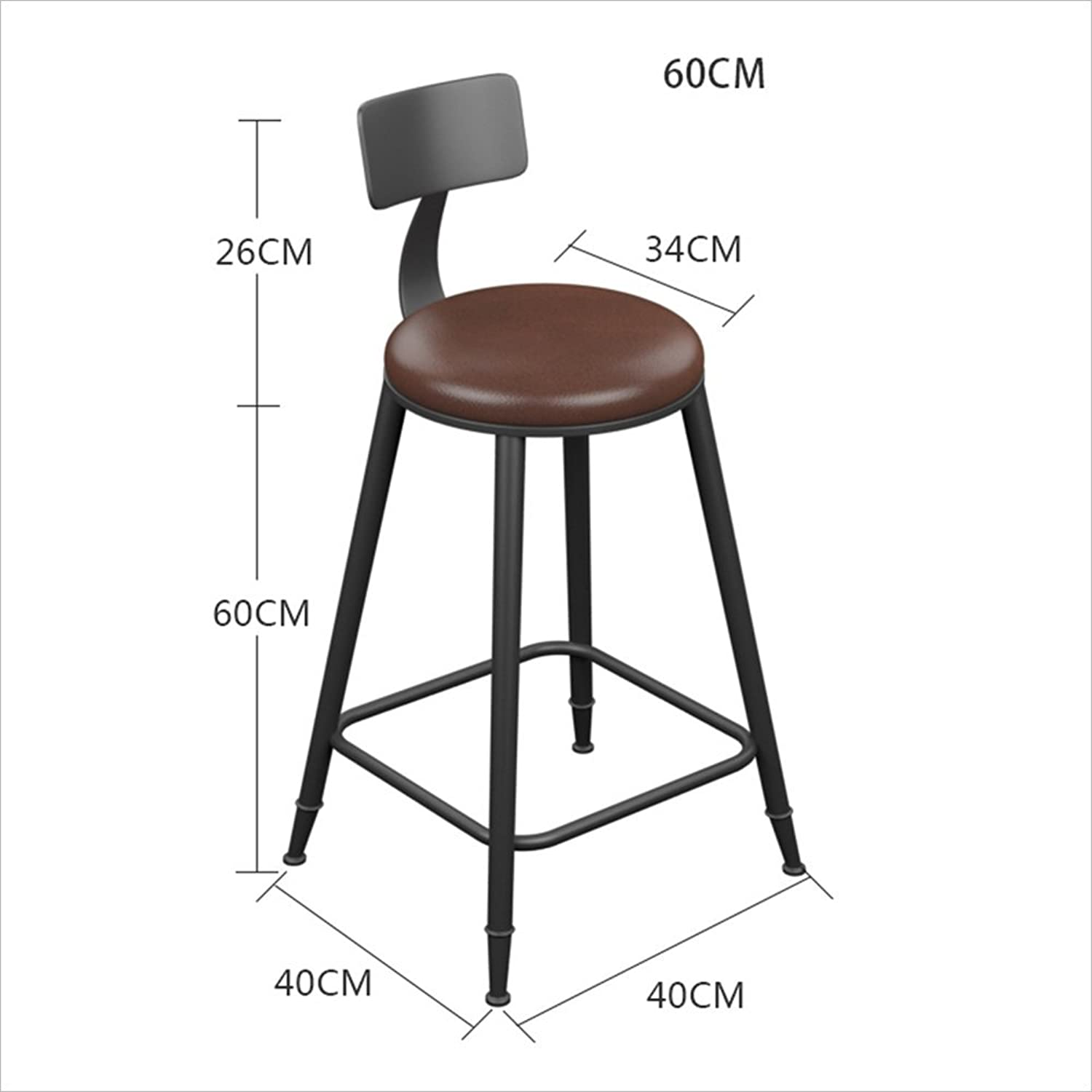 XIAOYAN Bar Stool Chair Kitchen Chair Dining Chair Breakfast Chair Natural Pinewood Height Industrial Style (color   PU seat, Size   60CM)