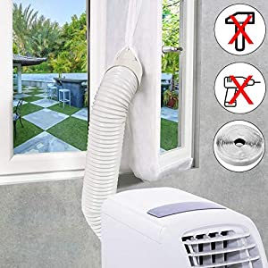 Extsud Sello de Ventana Aislamiento de Ventanas para Aire Acondicionado Portátiles y Secadoras Anti UV, Anti-Mosquitos, con Cremallera, 400cm