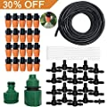 Outdoor Misting Cooling System Kit, Drip Irrigation Watering Kits, Great for Summer Mister Cooling and Plants Watering, 49FT (15M) Misting Line + 20PCS Adjustable Misting Nozzles + 1PC Quick Adapter