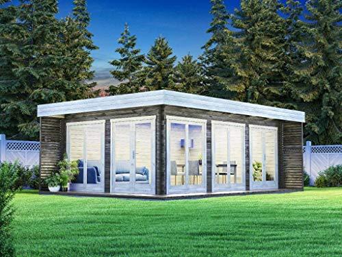 CARLSSON Alpholz Gartenlounge Viva B aus Massiv-Holz | Gartenhaus mit 44 mm Wandstärke | Garten Holzhaus inklusive Montagematerial | Gerätehaus Größe: 588 x 400 cm | Flachdach