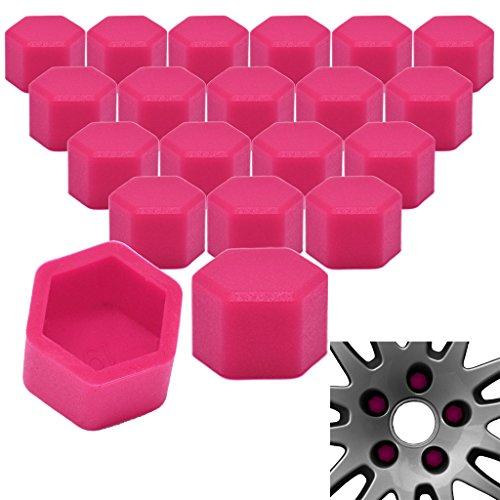 RYHX 20x Radschrauben Silikon Kappen Set Abdeckung SW17 17MM Pink