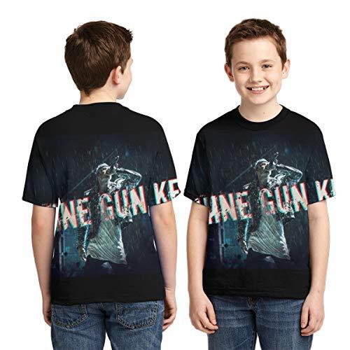 NFEMNEO Machine_Gun Kelly Boy T-Shirt 3D Graphic Youth Short Sleeve Crewneck Tee Black