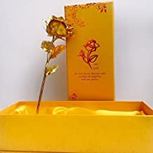 eCraftIndia Gold Rose (33 cm x 12 cm x 8 cm, Gold)