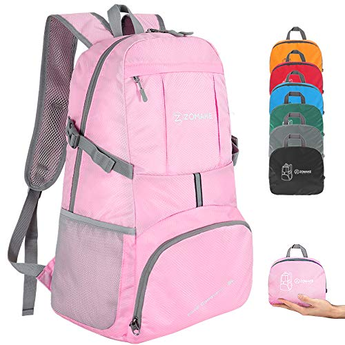 ZOMAKE Ultra Lightweight Hiking Backpack, 35L Foldable Water Resistant Travel Daypack Packable Backpack for Outdoor Camping(Light Pink)