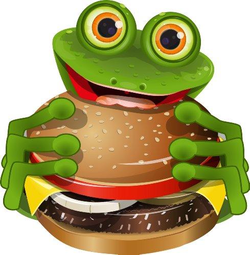 Michael & Rene Pflüger Barmstedt - Premium Aufkleber - 8x8 cm - Frosch mit Cheeseburger Fastfood imbiss Frog Kröte Sticker Auto Motorrad Bike Autoaufkleber