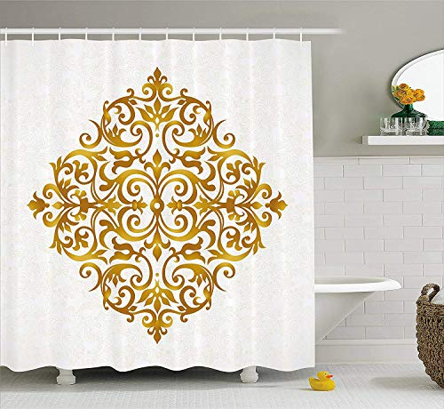 SPXUBZ Mandala Victorian Style Traditional Filigree Inspired Royal Oriental Classic Print Pale Caramel White Shower Curtain Waterproof Bathroom Decor Polyester Fabric Curtain Sets with Hooks