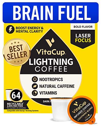VitaCup Lightning Blend Nootropic Vitamin Infused Coffee Pods Intense Energy Focus | 2X Caffeine | Vegan | Vitamin B1, B5, B6, B9, B12, D3 | Compatible K-Cup Brewers Including Keurig (64ct)