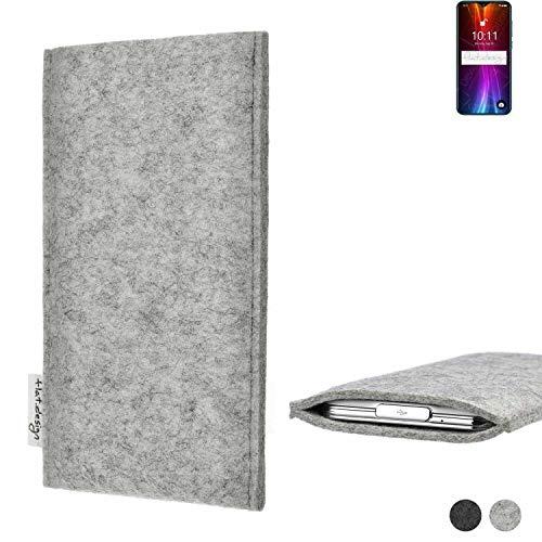 flat.design Handy Hülle Porto für Coolpad Cool 5 maßgefertigte Handytasche Filz Tasche Schutz Hülle fair grau