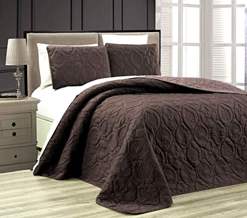 3-Piece Tropical Coast Seashell Beach (California) Cal King Oversize OVERSIZE Bedspread CHOCOLATE BROWN / TAUPE Reversible Coverlet Embossed Bed Cover set. Sea Shells, Sea Horse, Starfish etc.