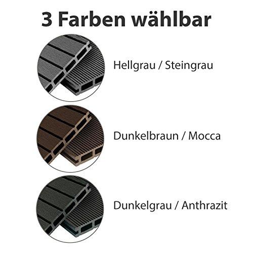 WPC Terrassendielen Basic Line - Komplett-Set Hellgrau | 12m² (4m x 3m) Holz-Brett Dielen | Boden-Fliesen + Unterkonstruktion & Clips | Balkon Boden-Belag + rutschfest + witterungsbeständig - 4
