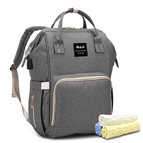 Allo Diaper Bag Backpack Multi-function Waterproof Baby Travel Bag with USB Port