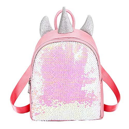 Ikaif Mochila con Lentejuelas Brillantes Y Unicornio para Niñas, Mochila Escolar con Cierre De Cremallera, Mochila De Viaje Mini De Moda Y Duradera para Niños, Mochila con Tirantes Ajustables (Pink)