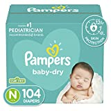 Diapers Size Newborn/Size 0 ( 10 lb), 104 Count - Pampers Baby Dry...