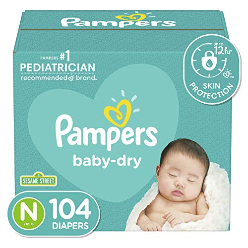 Diapers Size Newborn/Size 0 (< 10 lb), 104 Count – Pampers Baby Dry Disposable Baby Diapers, Super Pack
